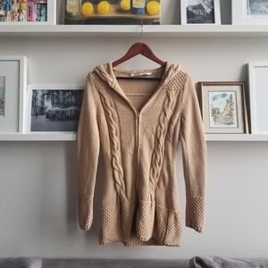 Athleta Hooded Long Camel Cotton Sweater